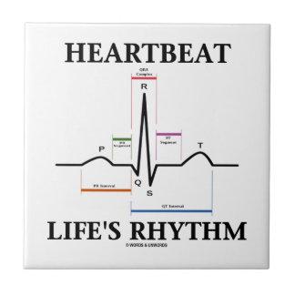 El ritmo de la vida del latido del corazón (ECG/EK Azulejo Cuadrado Pequeño