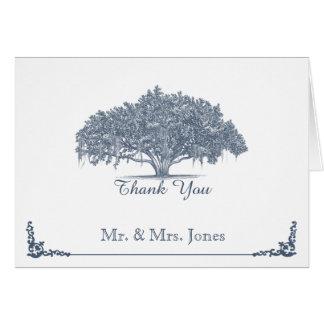 El roble cubierto de musgo en el boda azul le tarjeta pequeña