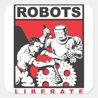 El robot le fija libre pegatina cuadrada