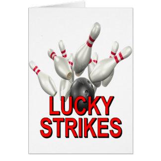 El rodar afortunado de las huelgas tarjeta de felicitación