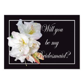 El rododendro blanco, usted será mi dama de honor, invitación 12,7 x 17,8 cm