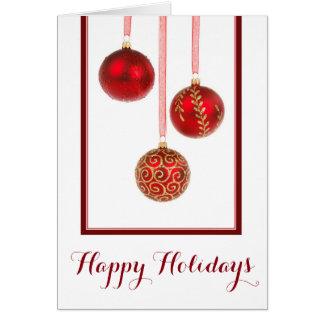 El rojo adorna la tarjeta de Navidad