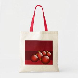 El rojo adorna los efectos de escritorio bolsa de mano