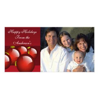 El rojo adorna los efectos de escritorio tarjetas con fotos personalizadas