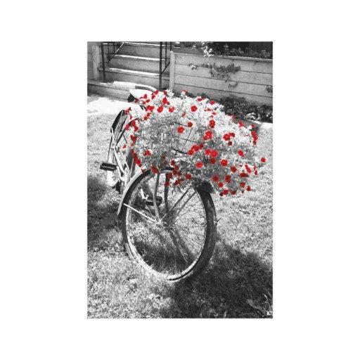El rojo blanco negro florece verano de la biciclet impresión en lienzo estirada