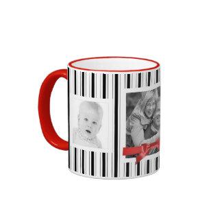 El rojo blanco negro raya el collage de 3 fotos tazas