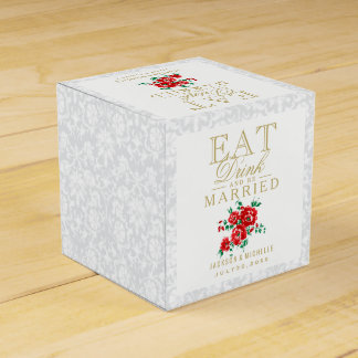 El rojo come, bebida y sea boda casado caja de regalos