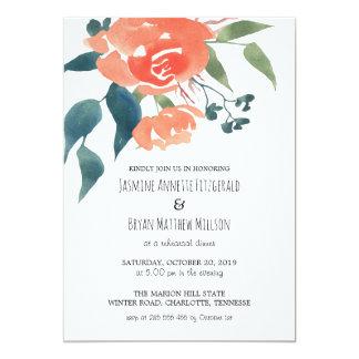 El rojo de la acuarela florece la cena del ensayo invitación 12,7 x 17,8 cm