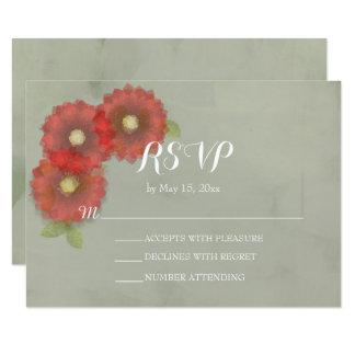 El rojo del verde de musgo de la acuarela florece invitación 8,9 x 12,7 cm