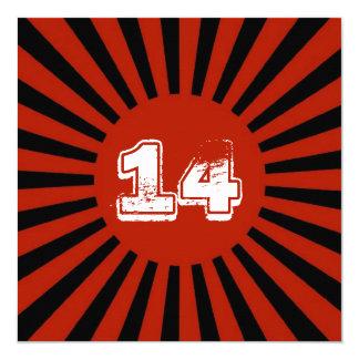 El rojo, la fiesta del cumpleaños del muchacho invitación 13,3 cm x 13,3cm
