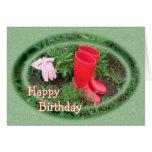 El rojo que cultiva un huerto patea cumpleaños o felicitación