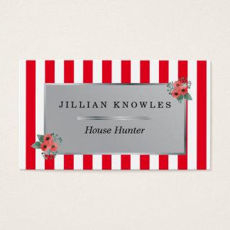 El rojo raya a cualquier cazador de casa floral tarjeta de negocios