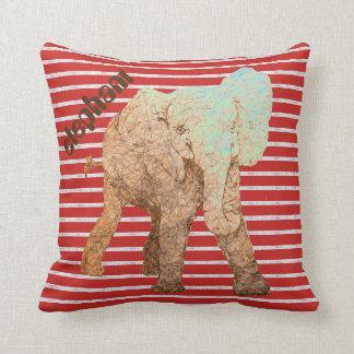 El rojo raya el elefante del bebé cojín decorativo