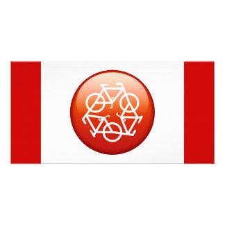 El rojo recicla símbolo tarjeta fotográfica personalizada