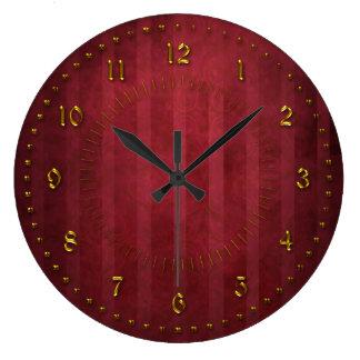 El rojo rico peló el Grunge numerado Reloj Redondo Grande