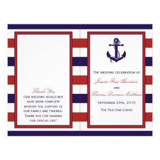 El rojo y la colección náutica del boda del ancla folleto 21,6 x 28 cm