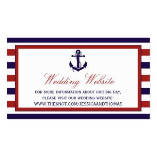 El rojo y la colección náutica del boda del ancla tarjetas de visita