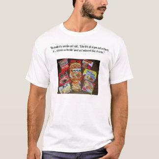 Él rompió los tallarines y dijo, toma el todo de… camiseta