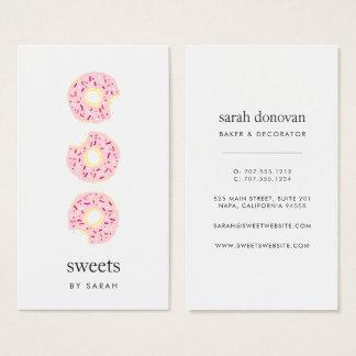 El rosa asperja el buñuelo tarjeta de negocios