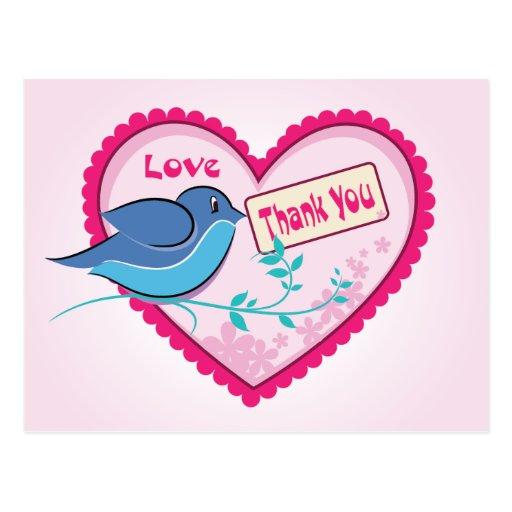 El rosa azul del pájaro le agradece postal floral