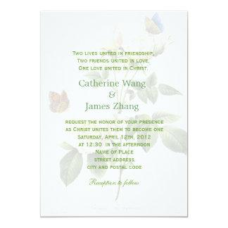 El rosa blanco del vintage florece el boda invitación 12,7 x 17,8 cm