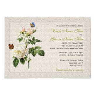 el rosa blanco del vintage hermoso florece el boda invitación 12,7 x 17,8 cm