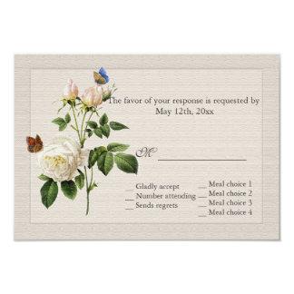 el rosa blanco del vintage hermoso florece RSVP Invitación 8,9 X 12,7 Cm