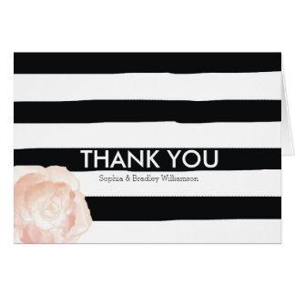 El rosa blanco y negro de las rayas de la acuarela tarjeta pequeña