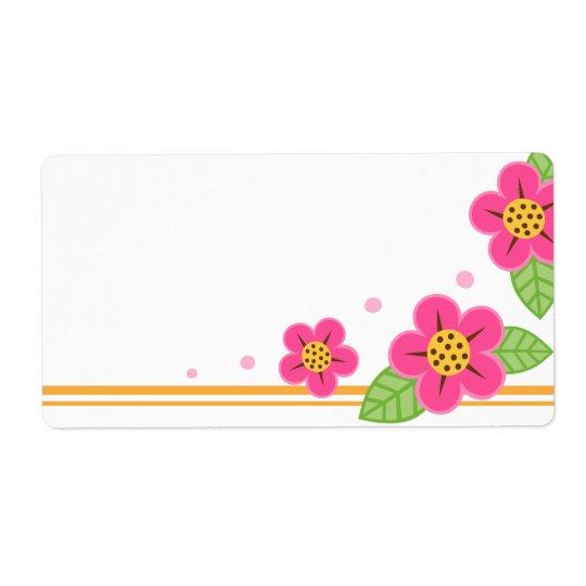 El rosa bonito florece el espacio en blanco lindo etiquetas de envío