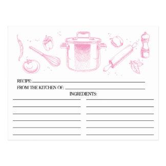 El rosa bosquejó tarjetas de la receta de las postal