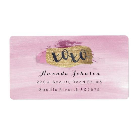 El rosa brillante de oro de XOXO se ruboriza Etiquetas De Envío
