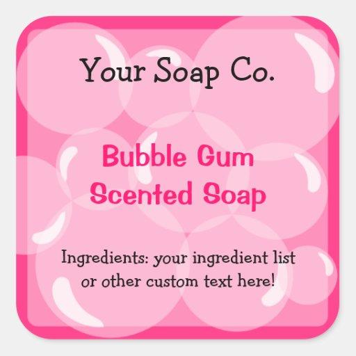 El rosa burbujea etiqueta del jabón del chicle