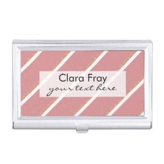 el rosa color de rosa del brillo del oro raya el cajas de tarjetas de negocios