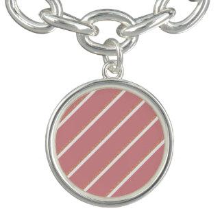el rosa color de rosa del brillo del oro raya el pulsera con dije