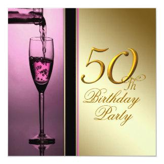 El rosa de la mujer y 50.a fiesta de cumpleaños invitación 13,3 cm x 13,3cm