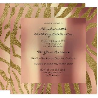 El rosa de la piel animal del safari de la cebra invitación 13,3 cm x 13,3cm