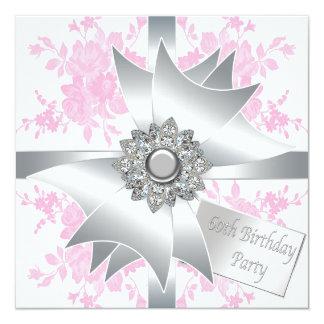 El rosa del arco del diamante subió a la 60.a invitación 13,3 cm x 13,3cm
