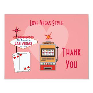 El rosa del estilo de Vegas del amor le agradece Invitación 10,8 X 13,9 Cm