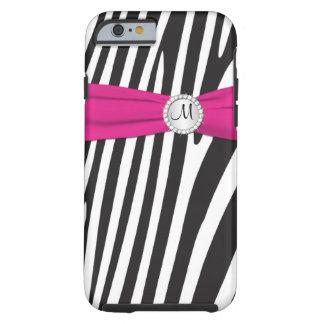 El rosa del monograma, negro, la cebra blanca rayó funda de iPhone 6 tough