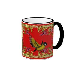El rosa del pájaro del amor de la taza florece