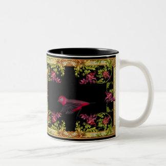 El rosa del pájaro del amor de la taza florece neg