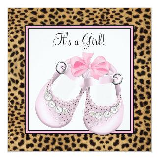 El rosa dulce calza la ducha rosada de la niña del invitación 13,3 cm x 13,3cm