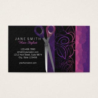 El rosa femenino elegante scissor la tarjeta de la