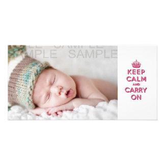 El rosa femenino guarda calma y continúa tarjeta fotográfica personalizada