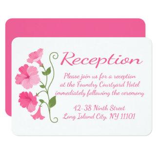 El rosa florece a la recepción nupcial floral invitación 8,9 x 12,7 cm