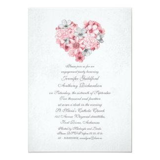 el rosa florece al fiesta de compromiso del invitación 12,7 x 17,8 cm