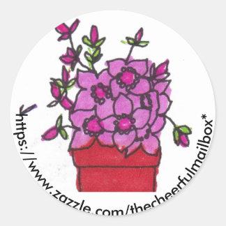 El rosa florece al pegatina redondo del buzón