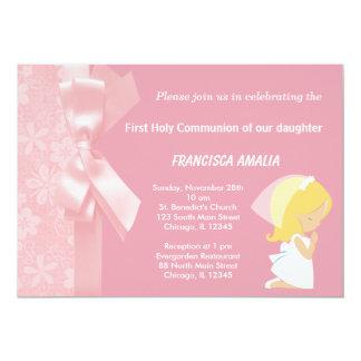 El rosa florece la comunión del acebo invitaciones personalizada