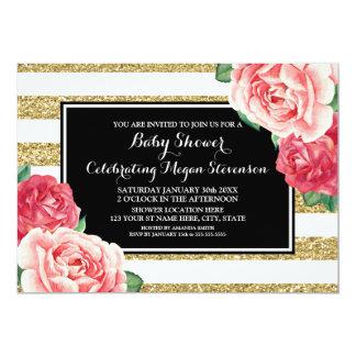 El rosa florece la fiesta de bienvenida al bebé invitación 12,7 x 17,8 cm