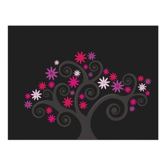 El rosa florece postal